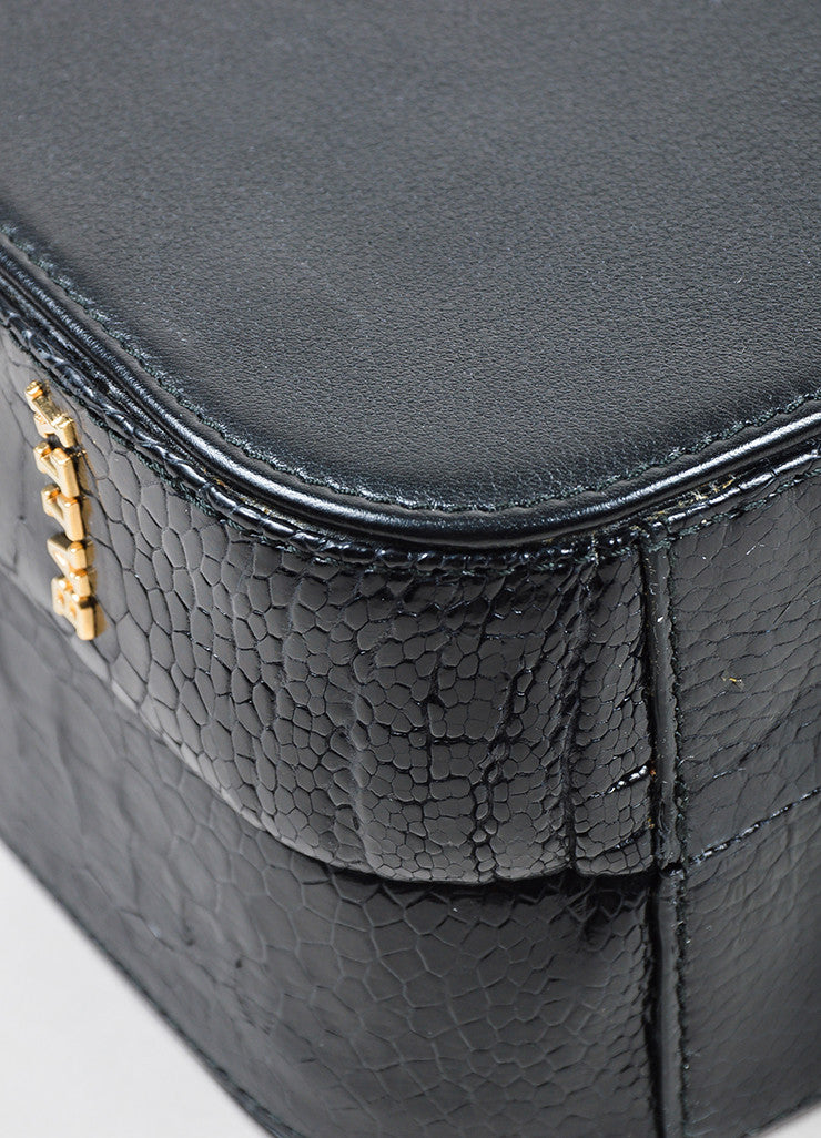 "Black Bally Leather and Crocodile ""Delfina"" Top Latch Chain Strap Box Bag Detail"