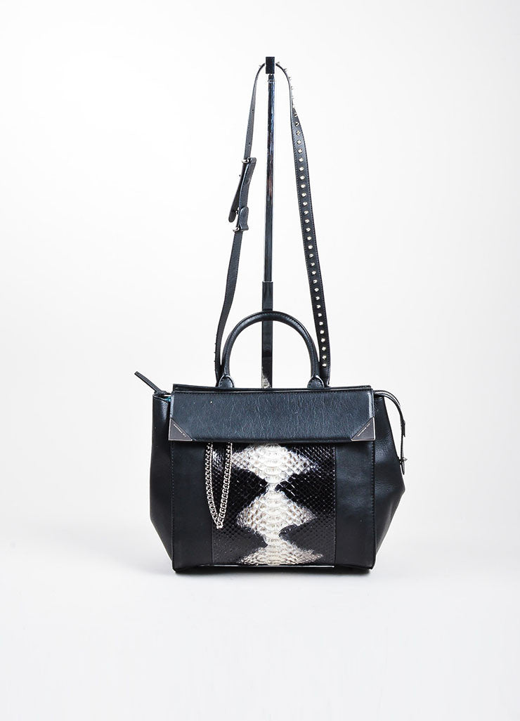 Barbara Bui Black Leather Python Trim Stud Strap Bag Frontview