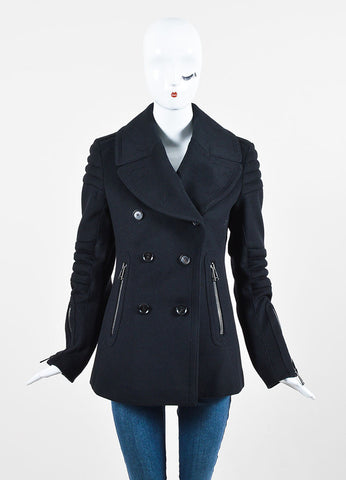"Belstaff Black Wool Double Breasted ""Croft"" Moto Peacoat Frontview 2"