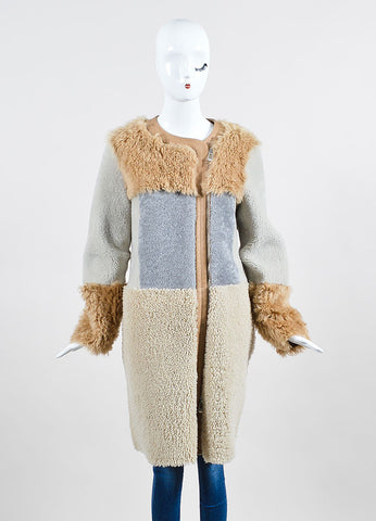 Tan, Grey, and Beige Belstaff Shearling Lambskin Reversible Coat Frontview 2