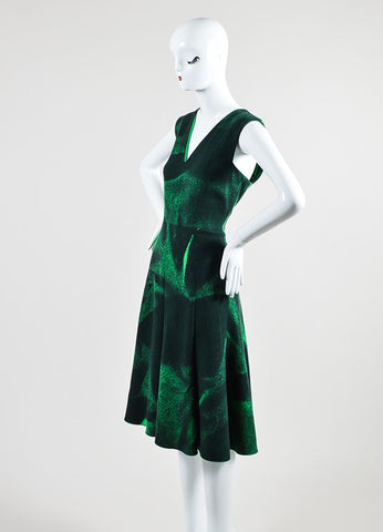 Bottega Veneta Green Wool Printed V Neck Sleeveless Dress Sideview