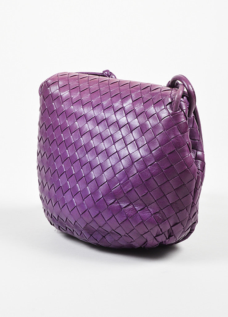 Purple Bottega Veneta Leather Intrecciato Knot Strap Crossbody Bag Sideview
