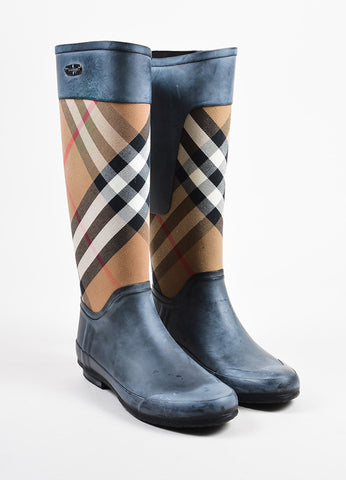 "Black Burberry ""House Check"" Multicolor Tall Rain Boots Front"