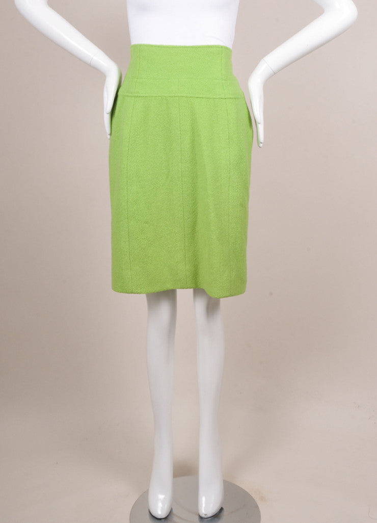 Chanel Lime Green Wool Boucle High Waisted Pencil Skirt Frontview