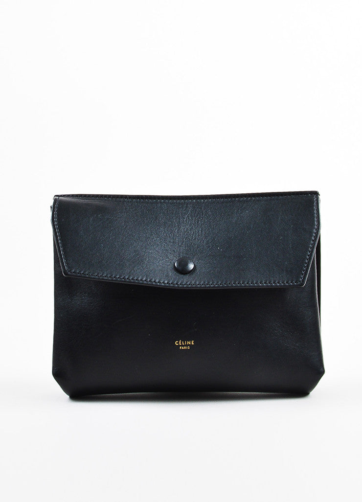 "Celine Black Leather Flap Top ""Medium Tie"" Tote Bag Pouch Frontview"
