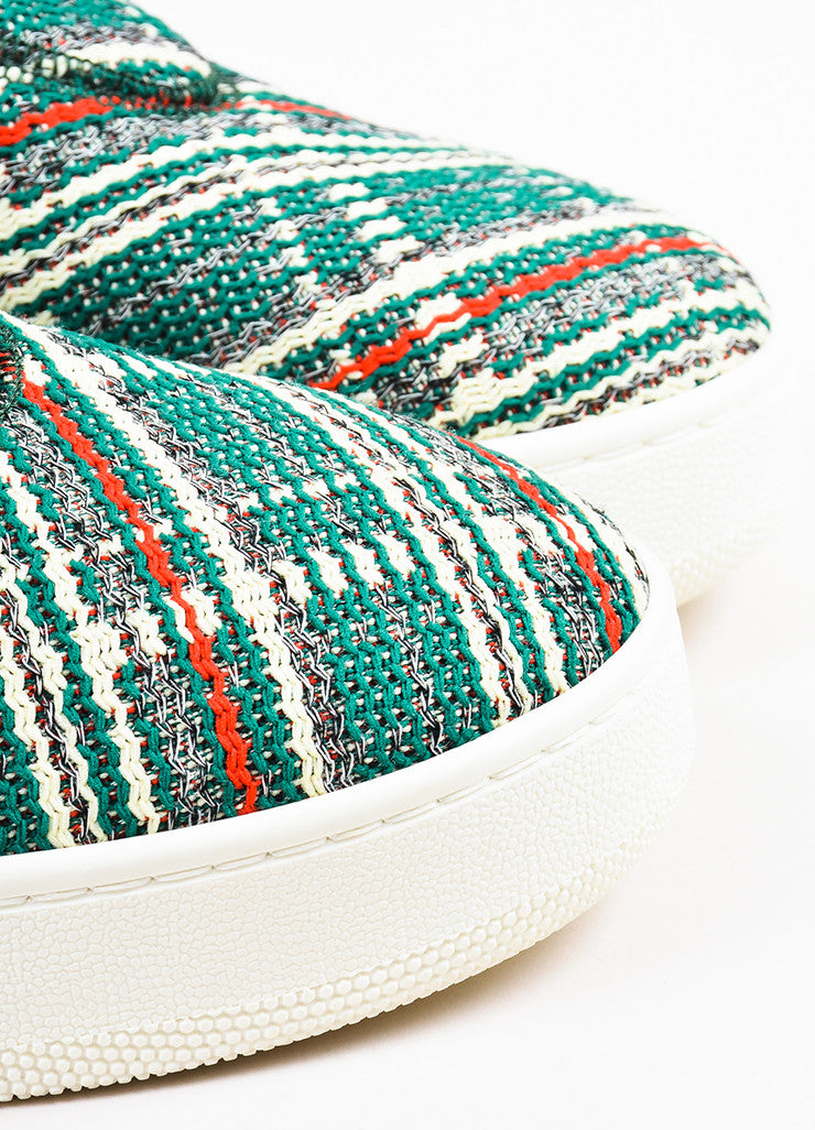 "Celine Green, Cream, and Red Tweed ""Love Life"" Limited Edition Sneakers Detail"