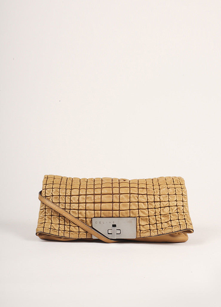 Celine Tan Quilted Leather Shoulder Flap Bag Frontview