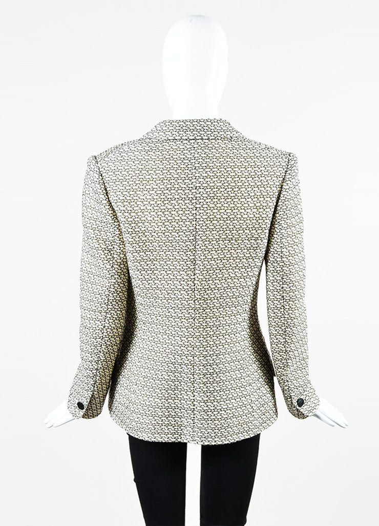 Cream and Black Chanel Wool Pattern Embroidered Notch Collar Button Jacket Backview