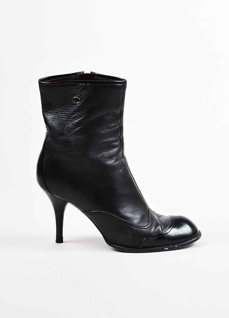 "Black Chanel Leather ""CC"" Round Cap Toe Heeled Ankle Boots Side"