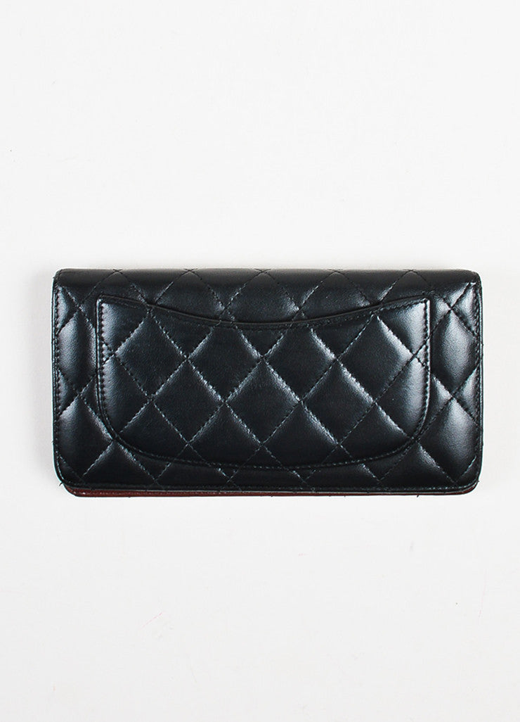 "Chanel Black Quilted Leather ""L Yen"" Bifold Continental Wallet Backview"