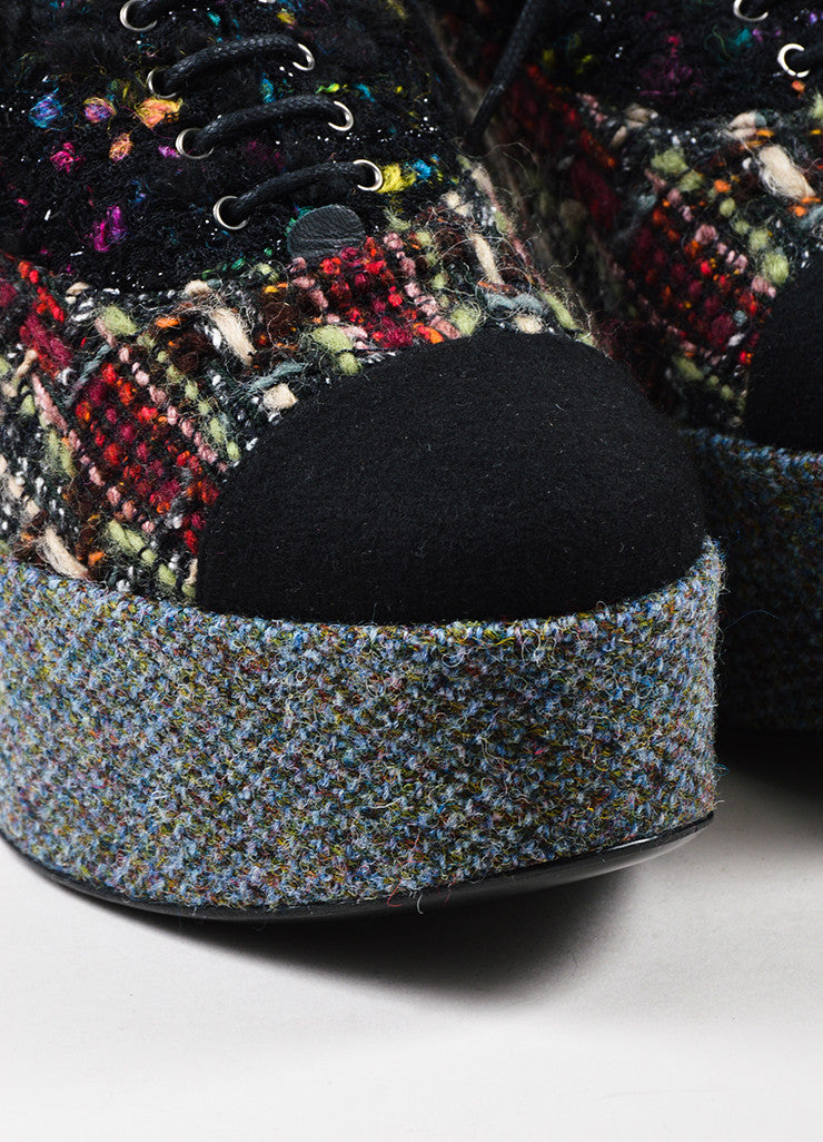 Black Multicolor Chanel Lace Up Tweed Platform Oxfords Detail
