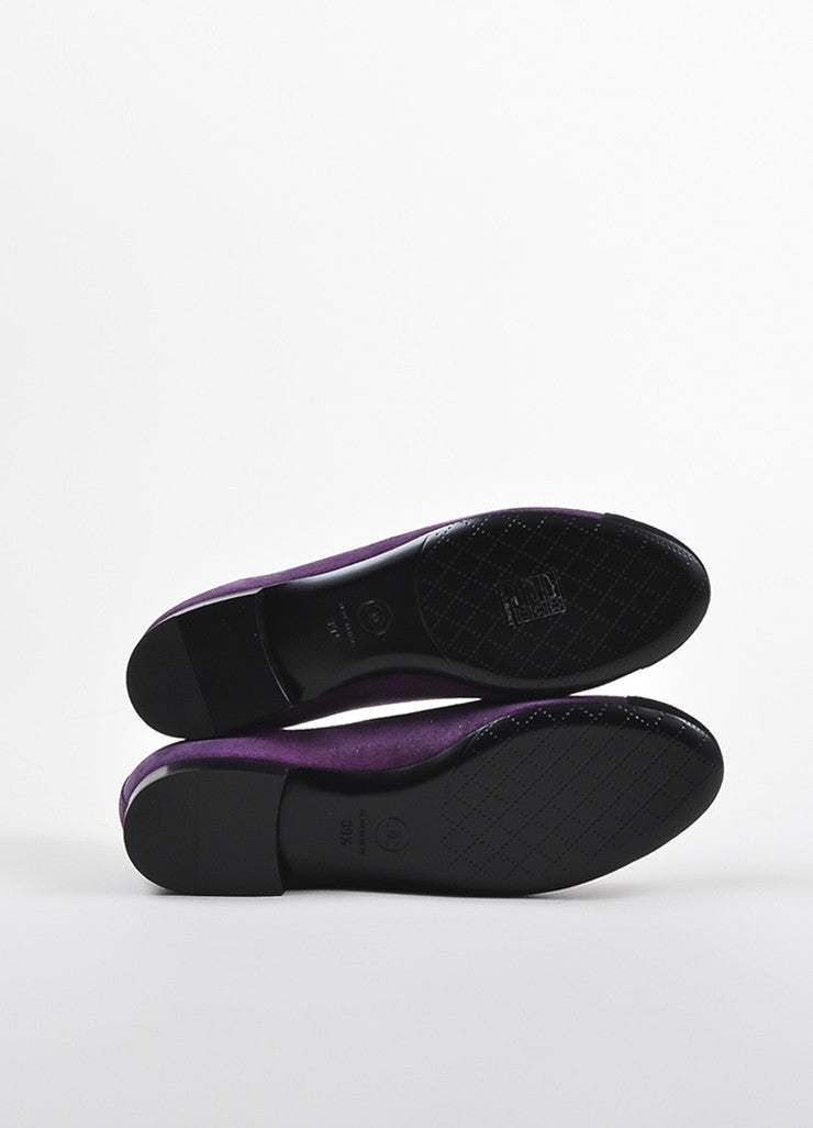 Purple and Black Chanel Suede Cap Toe 'CC' Ballerina Flats Outsoles