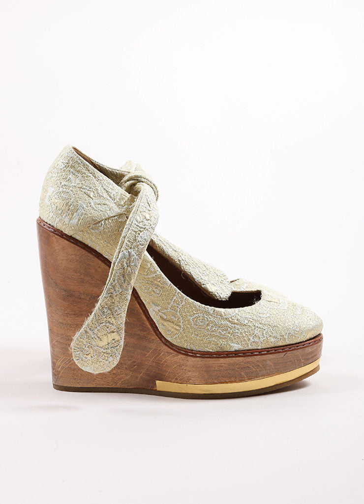 Chloe Gold and Silver Metallic Brocade Ankle Tie Wooden Platform Wedges Sideview