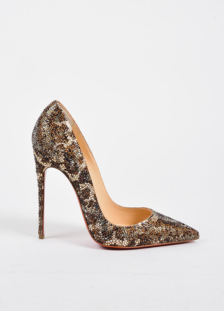 "Brown Christian Louboutin ""So Kate Strass Leopard 120"" Pumps Sideview"