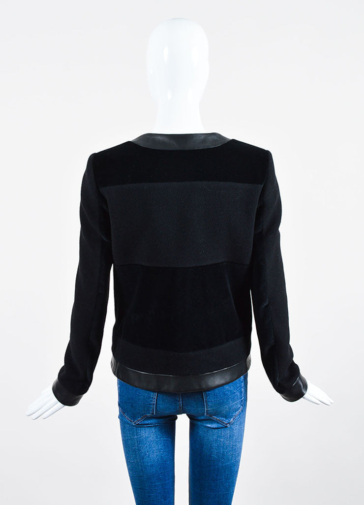 Black Christopher Kane Cashmere, Velvet, and Leather Paneled Jacket Backview