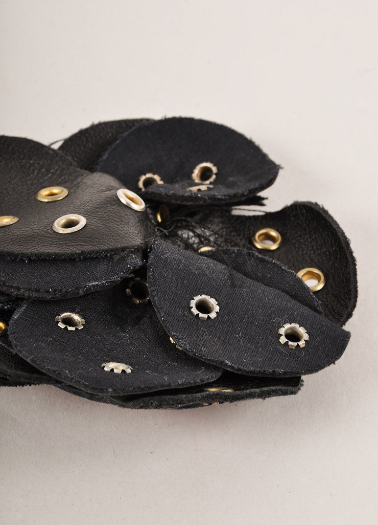 Clements Ribeiro Black and Silver Toned Grommet Embellished Leather Floral Pin Brooch Sideview