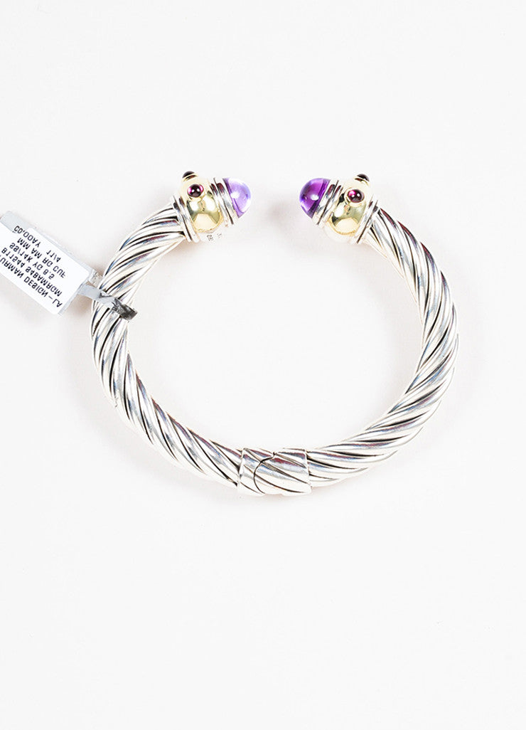 "Sterling Silver David Yurman Gold Amethyst ""Renaissance"" Cable Cuff Top"