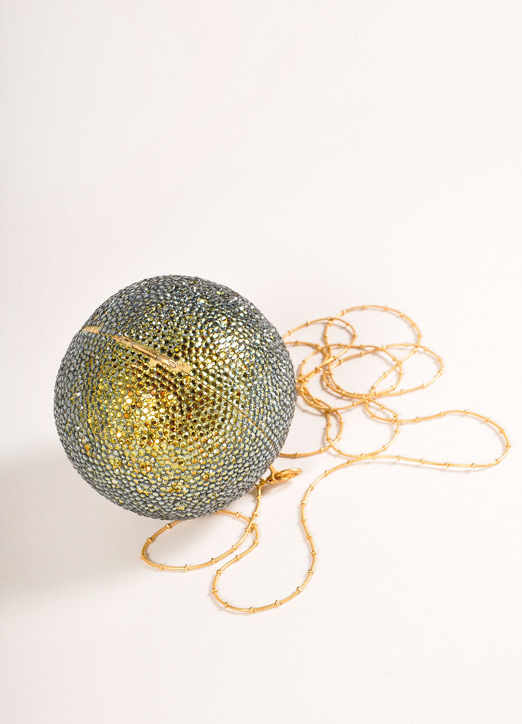 Devi Kroell Green and Gold Toned Rhinestone Sphere Small Minaudiere Clutch Bag Sideview