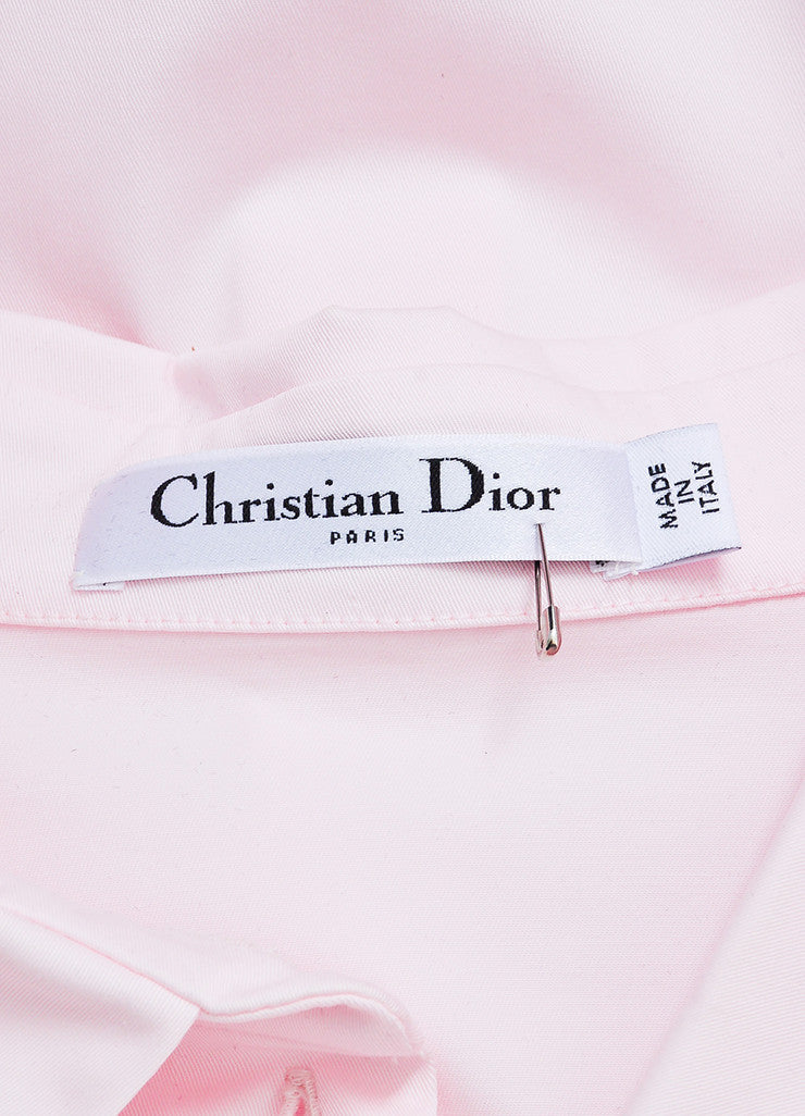 Pink, Black, and White Trim Christian Dior Sleeveless Button Up Crop Top Brand