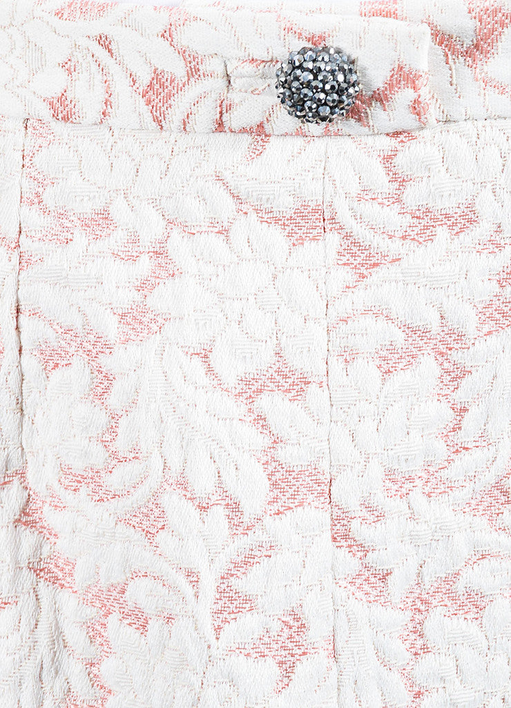 Dolce & Gabbana Pink and White Brocade Mini Skirt Detail
