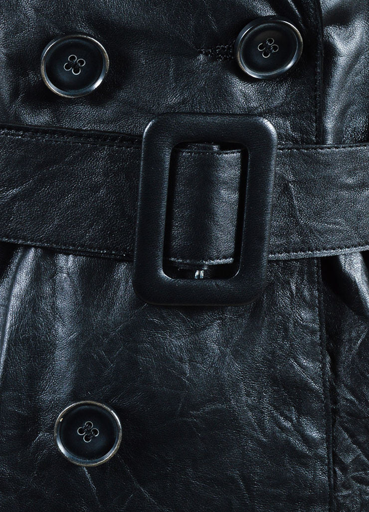 Each x Other Black Leather Long Sleeve Trench Coat  Detail