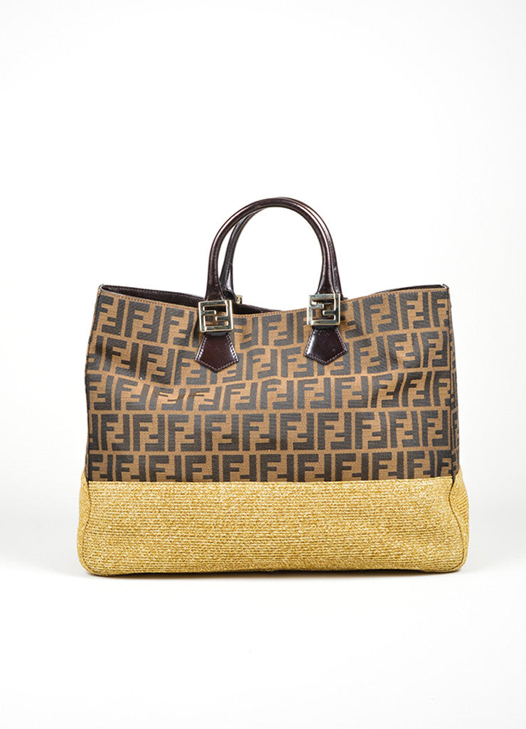 "Fendi ""Zucca and Straw Tobacco"" Brown Monogram Top Handle Tote Frontview"