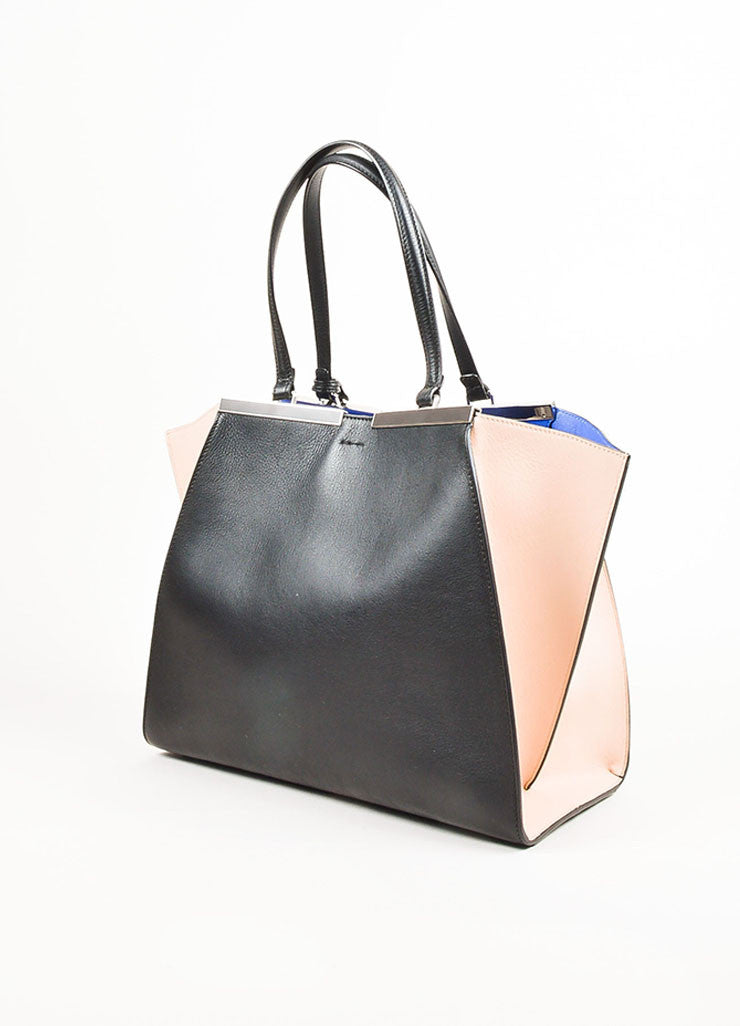"Fendi Black, Pale Pink, and Blue Leather Color Block Medium ""3 Jours"" Satchel Sideview"