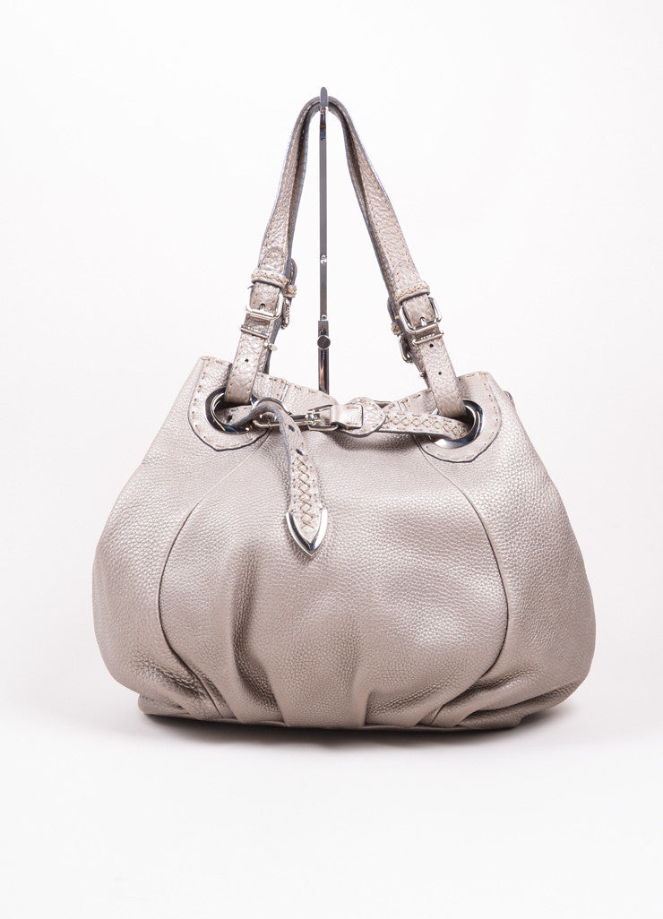 "Fendi Silver Pebbled Leather"" Selleria Pomodorino"" Drawstring Belt Handbag Frontview"