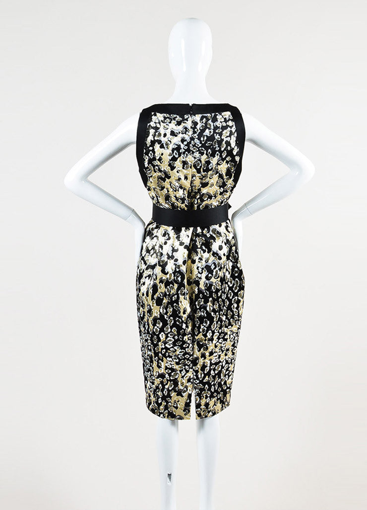 Giambattista Valli Black and Metallic Gold Silk Jacquard Belted Sleeveless Dress Backview