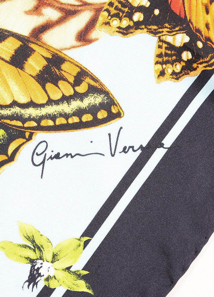 Gianni Versace Multicolor Silk Seashell and Butterfly Print Scarf Brand