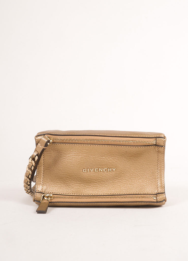 "Givenchy Gold Metallic Grained Leather ""Pandora"" Chain Wristlet Clutch Bag Frontview"