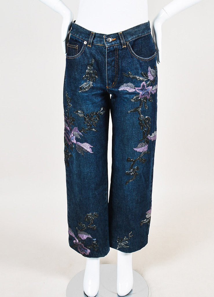 Gucci Blue, Lilac, and Metallic Silver Denim Floral Embroidered Wide Leg Jeans Frontview