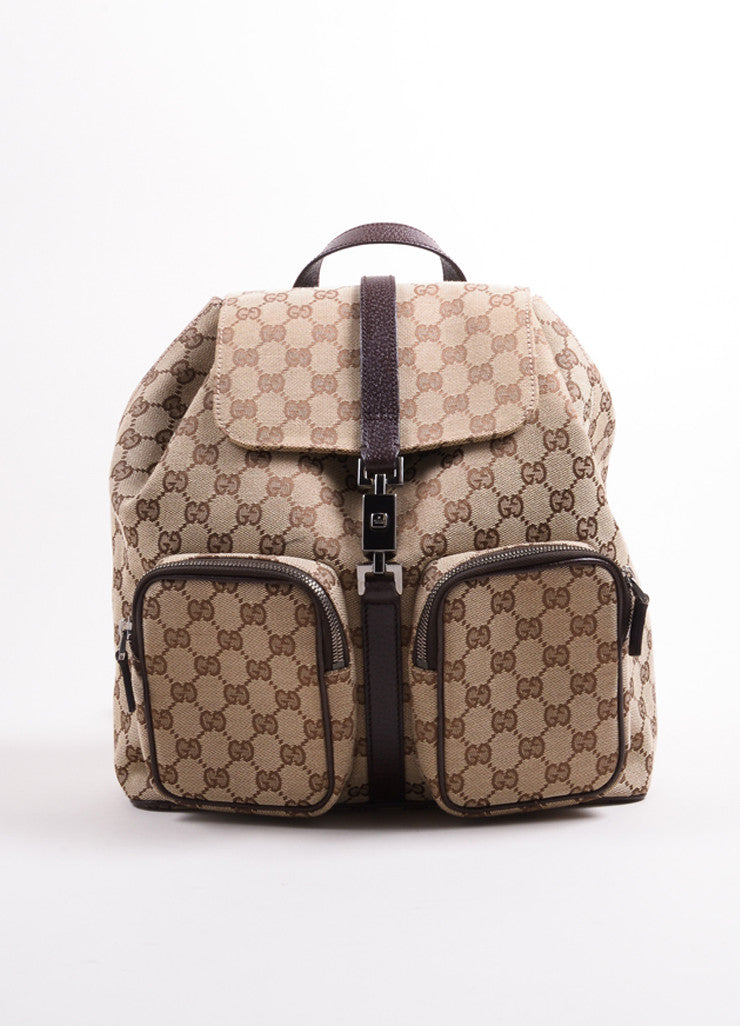 "Gucci Brown ""GG"" Monogram Canvas Backpack Frontview"