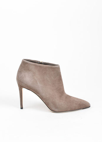 "Grey Gucci Suede Pointed Toe Zip ""Brooke"" 95mm Stiletto Booties Sideview"