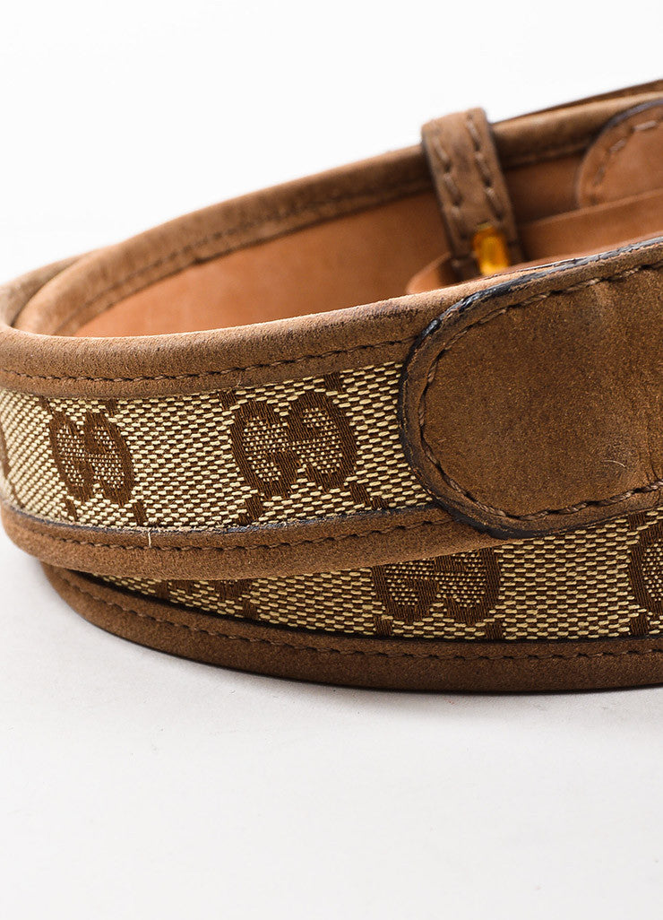Gucci Tan Gold Toned Suede and Canvas Monogram Belt Detail 2
