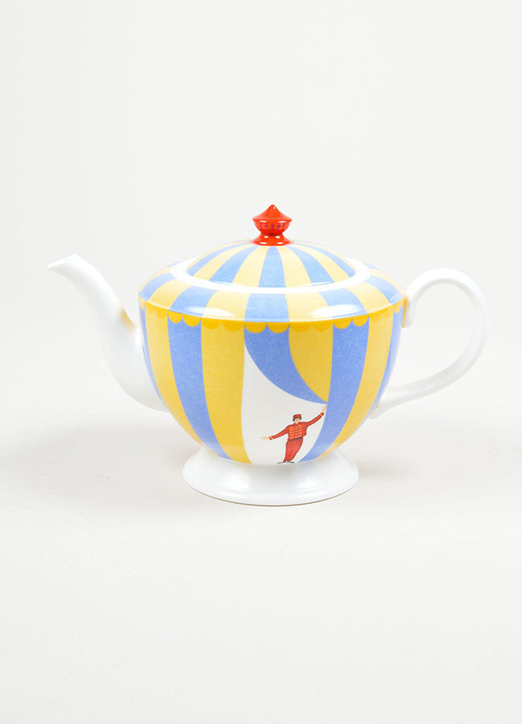 "White, Yellow and Blue Hermes Porcelain ""Monsieur Loyal"" Circus Print Tea Pot Front"