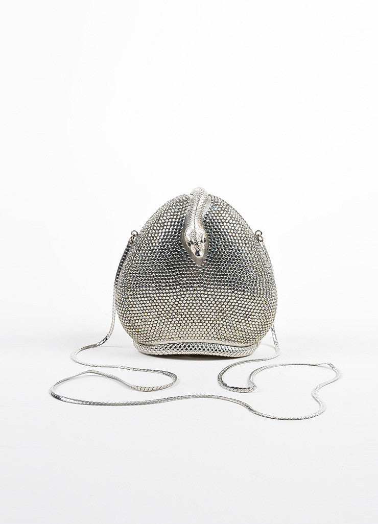 Judith Leiber Metallic Silver Toned Snake Frame Crystal Encrusted Miniaudiere Backview