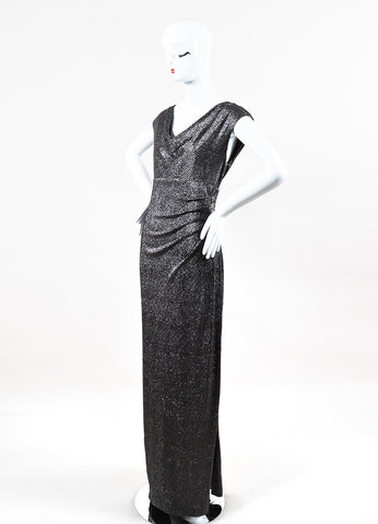 Lauren Ralph Lauren Silver Black Metallic Matelasse Sleeveless Dress Gown