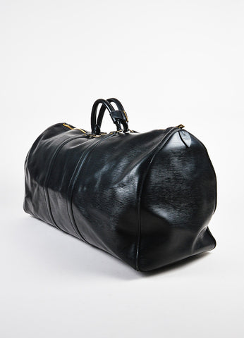 "Louis Vuitton Black Epi Leather ""Keepall 60"" Travel Duffel Bag Sideview"