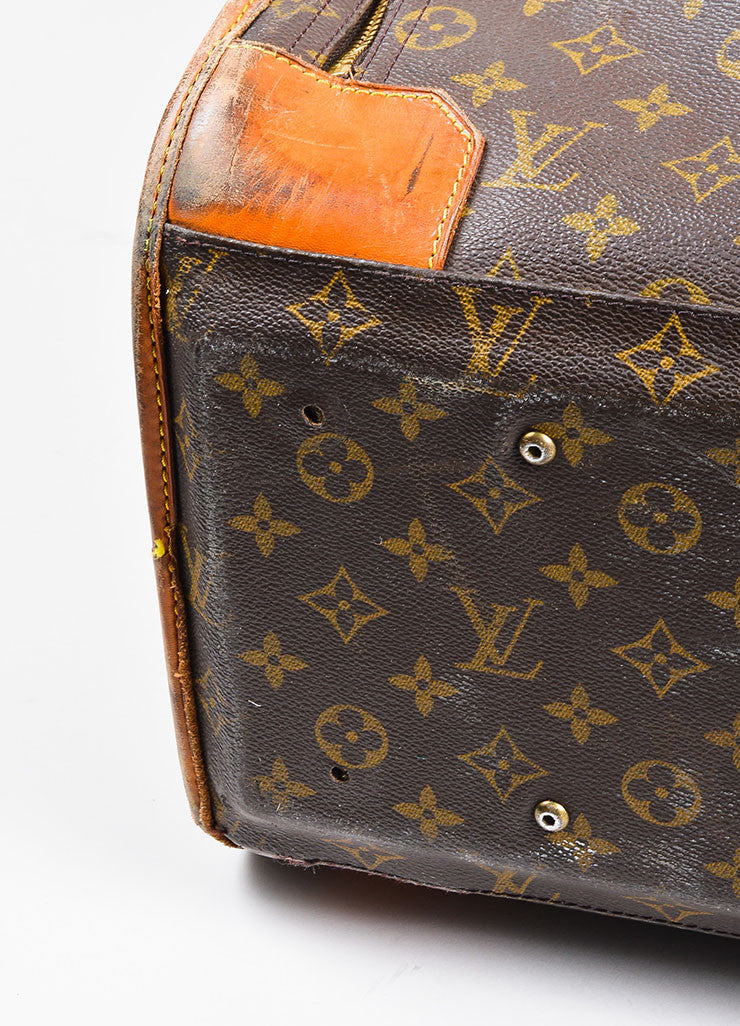 "Louis Vuitton Brown Coated Canvas Leather Monogram ""Pullman"" Travel Suitcase Bag"