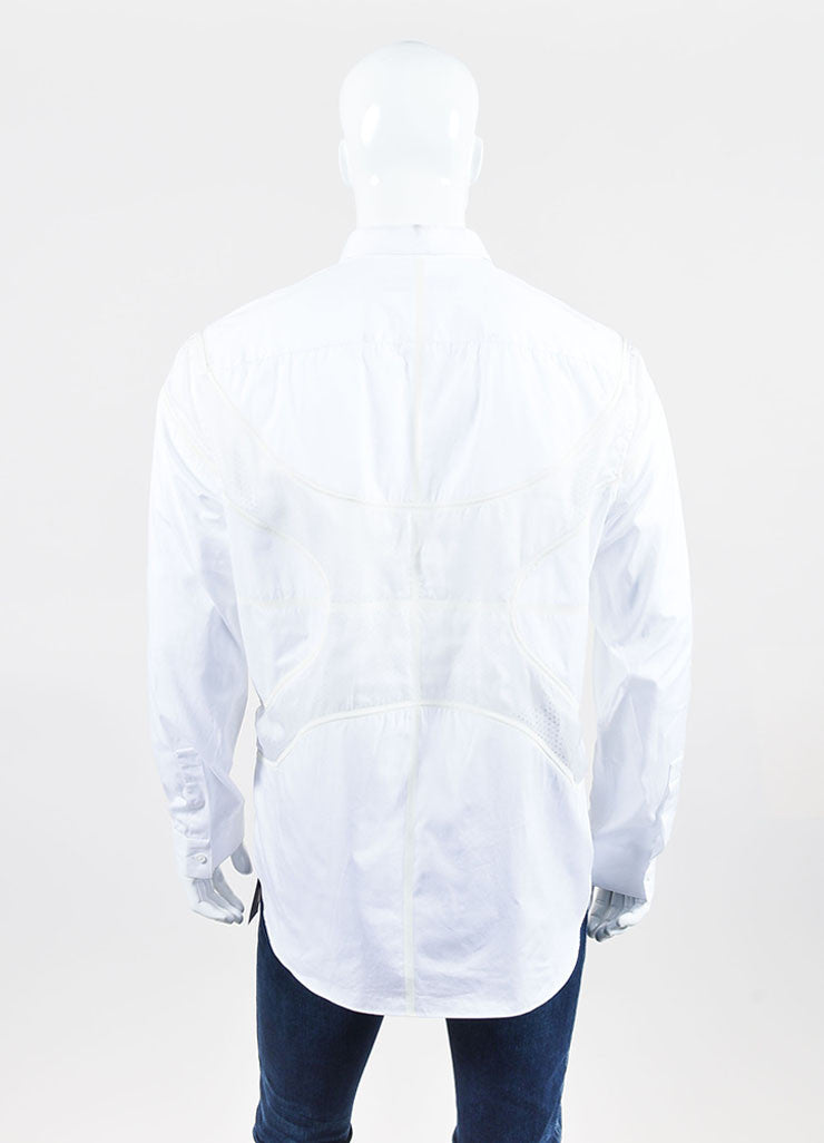 Men's Givenchy White Poplin Mesh Basketball Panel Button Up Shirt  Backview
