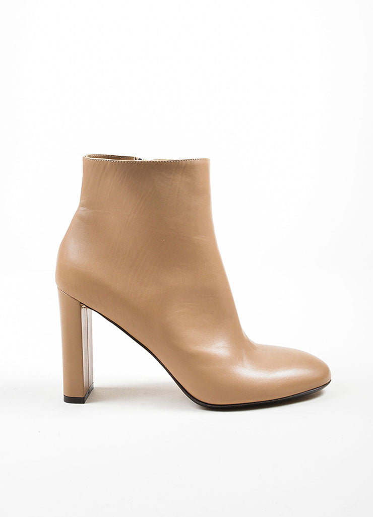 Sand Tan Marni Leather High Heel Round Toe Ankle Boots Sideview