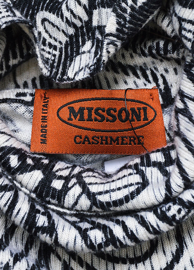 Black and White Missoni Cashmere and Silk Floral Printed Turtleneck Sweater Brand