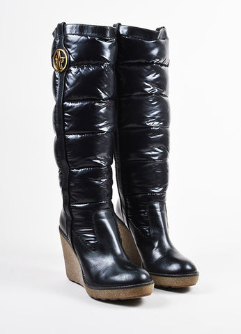 Black Moncler Nylon Puffer Rubber Wedge Knee High Boots Front