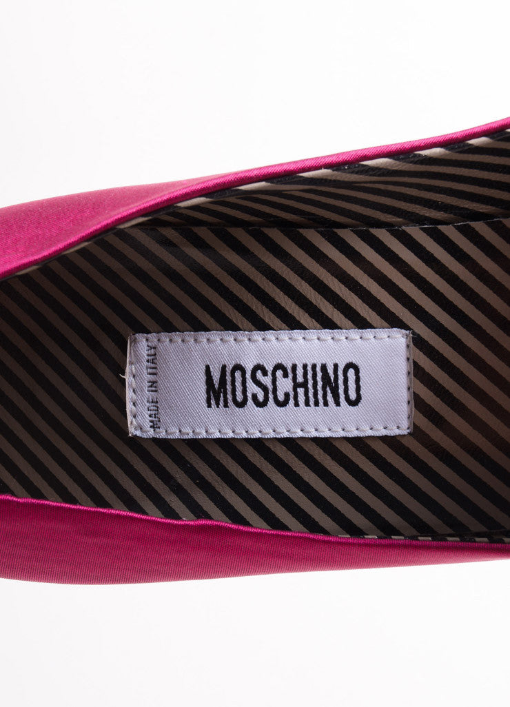 Moschino Fuchsia Pink Satin Rosette Pointed Toe Pumps Brand