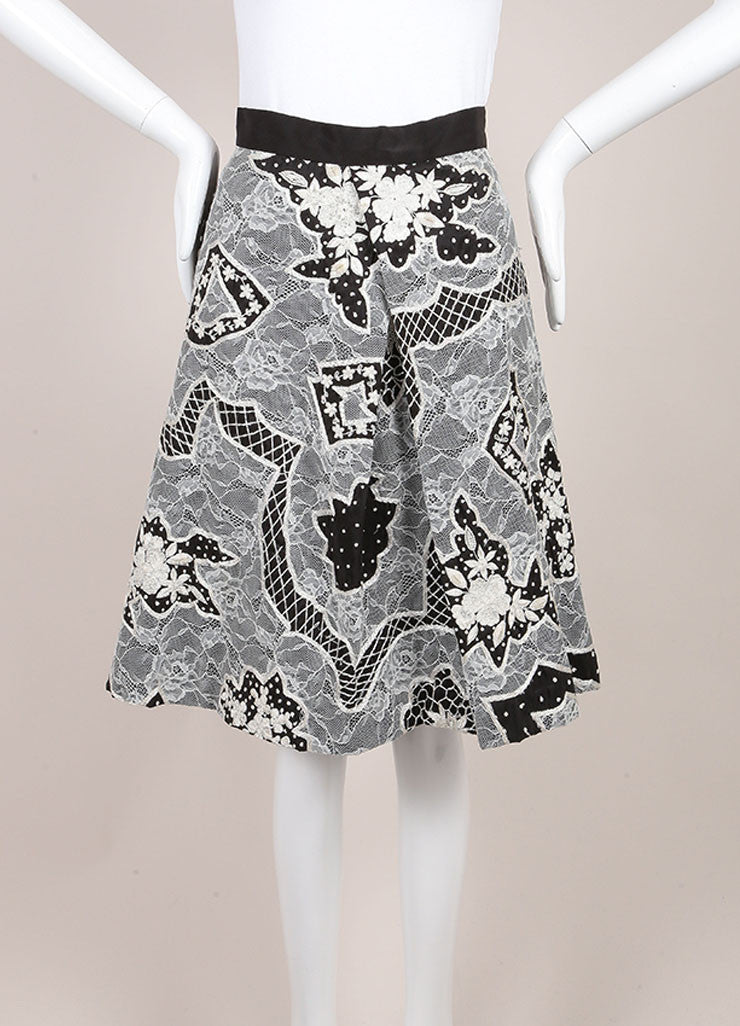 Naeem Khan Black and White Silk Lace Embroidered Floral Pleated A-Line Skirt Frontview