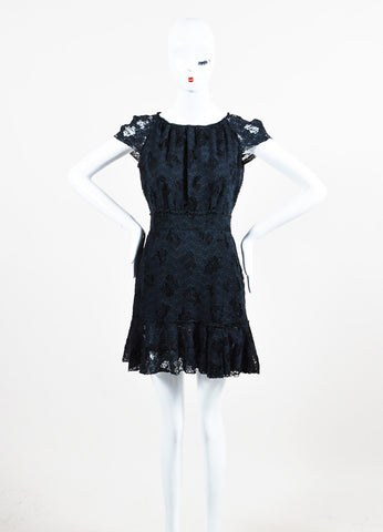 Black Nina Ricci Cotton Lace Short Sleeve Dress Frontview