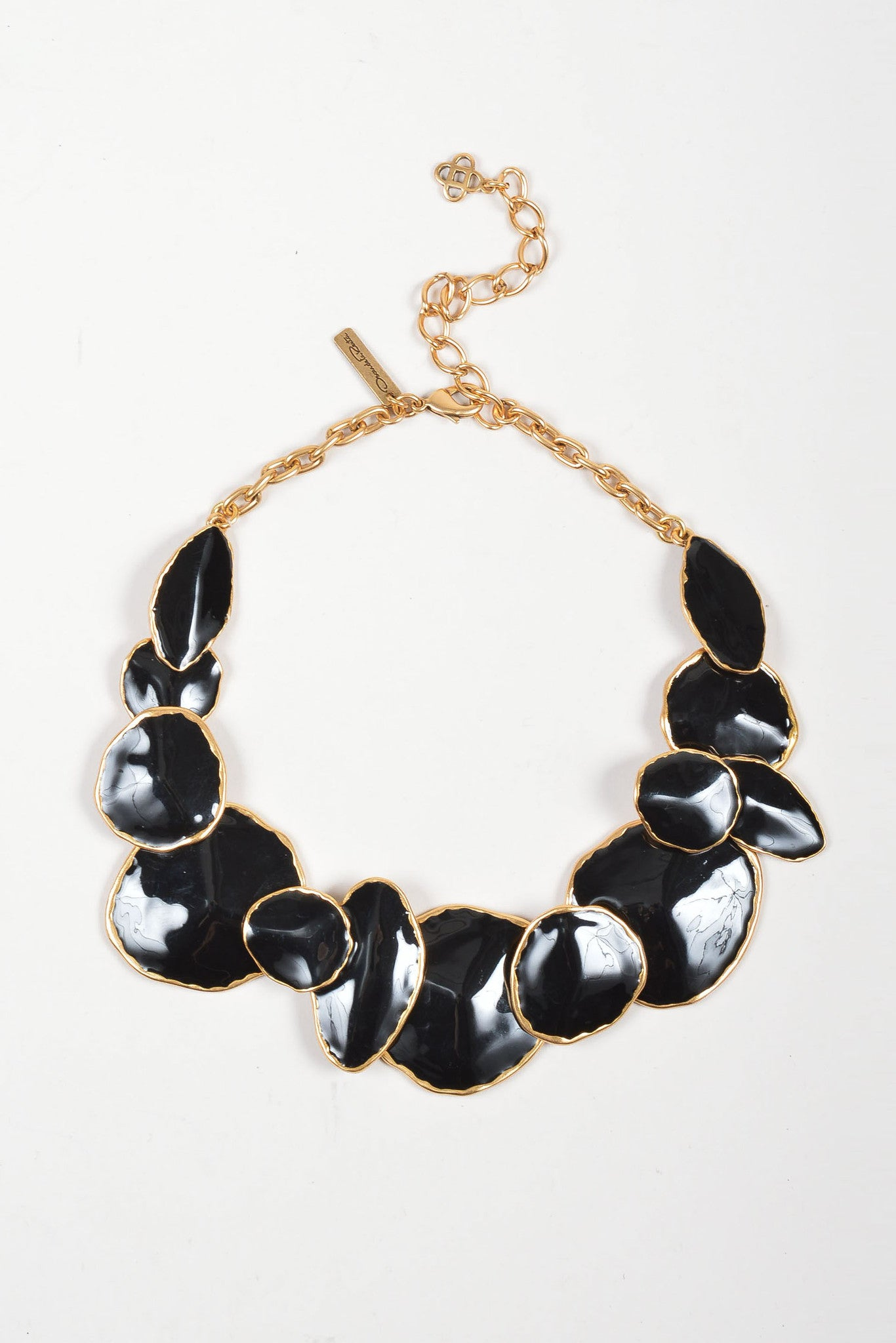 Oscar de la Renta Gold Toned and Black Enamel Oversized Chunky Medallion Necklace Frontview