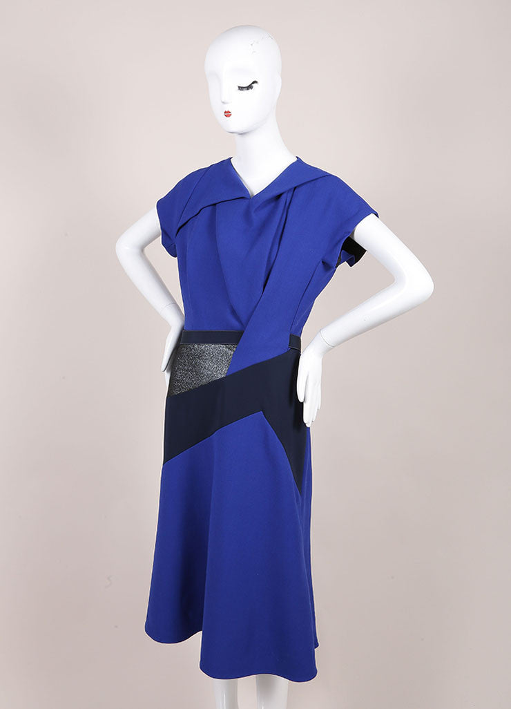 Peter Pilotto New With Tags Black Metallic Wool Cobalt Sash Dress Sideview