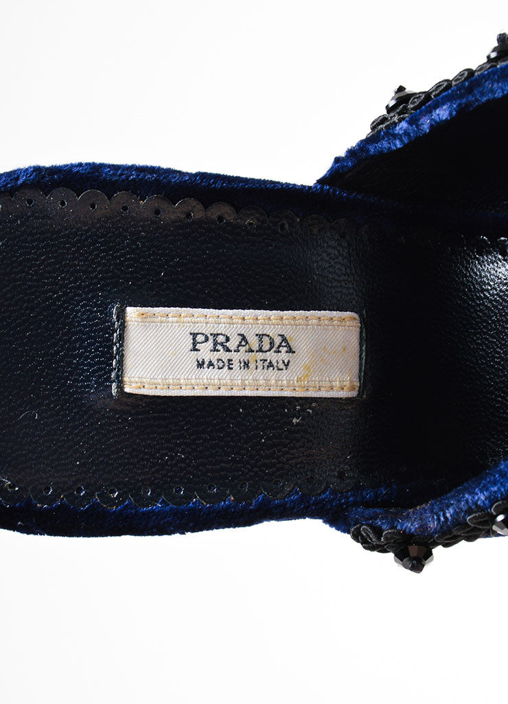 Cobalt Blue and Black Prada Velvet Beaded Embroidered Heeled Mules Brand